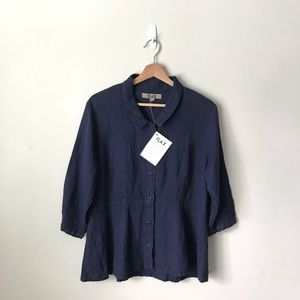 FLAX Button Down Shirt Blouse S Navy Blue Ink